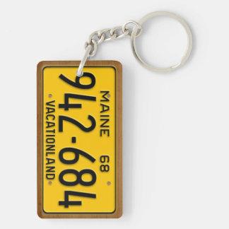 Maine 1968 Vintage License Plate Keychain