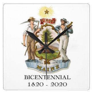 Maine 200th Anniversary Bicentennial Square Wall Clock