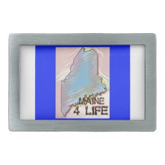 """Maine 4 Life"" State Map Pride Design Belt Buckles"