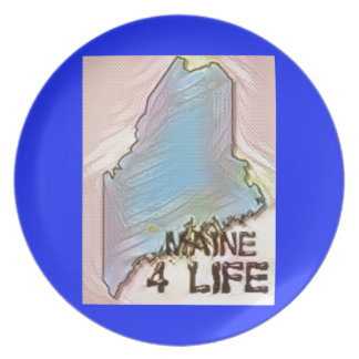 """""""Maine 4 Life"""" State Map Pride Design Plate"""