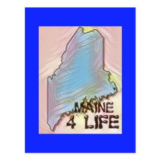 """Maine 4 Life"" State Map Pride Design Postcard"