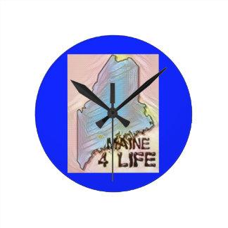 """Maine 4 Life"" State Map Pride Design Round Clock"