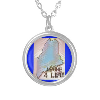 """""""Maine 4 Life"""" State Map Pride Design Silver Plated Necklace"""