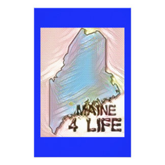 """Maine 4 Life"" State Map Pride Design Stationery"