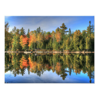 Maine Autumn Fall Foliage Lake Reflections Photographic Print