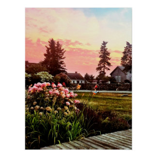 Maine Coastal Sunset Poster