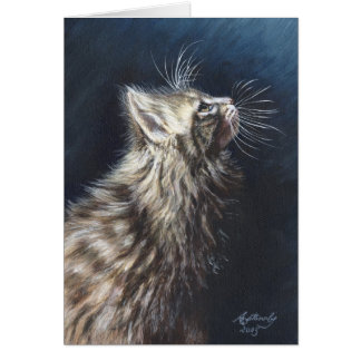 "Maine Coon Cat ""Angel Light"" Greeting Note Card"
