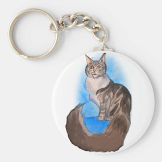 MAINE Coon Cat Basic Round Button Key Ring