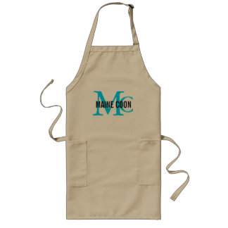 Maine Coon Cat Breed Monogram Long Apron