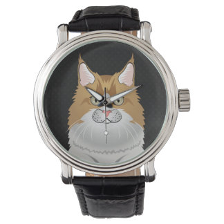 Maine Coon Cat Cartoon (Light) Watch