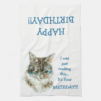 Maine Coon Cat HAPPY Birthday hand towel