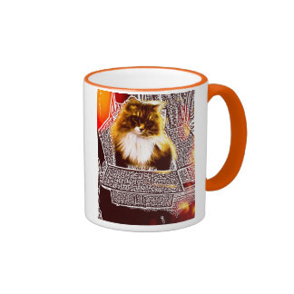 Maine coon cat in box color ring cup ringer coffee mug