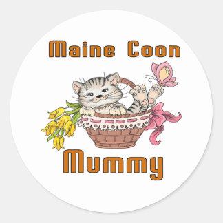 Maine Coon Cat Mom Classic Round Sticker
