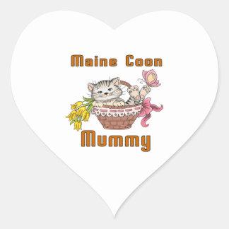 Maine Coon Cat Mom Heart Sticker