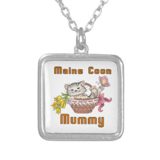 Maine Coon Cat Mom Silver Plated Necklace