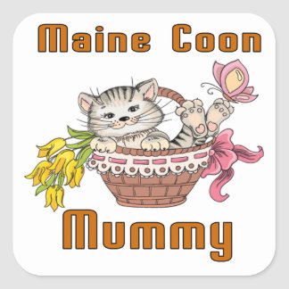 Maine Coon Cat Mom Square Sticker