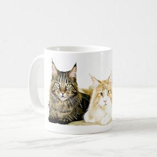 Maine Coon Cats Kittens, Modern Cat Art Coffee Mug
