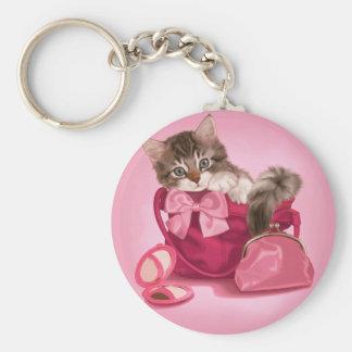 Maine coon in pink handbag basic round button key ring