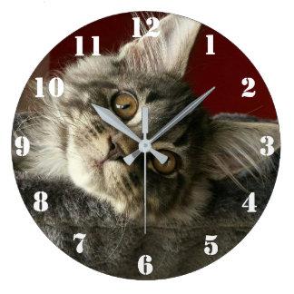 Maine Coon Kitten Clock