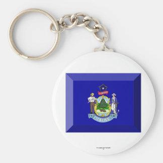 Maine Flag Gem Keychain