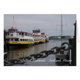 Maine Island Boats Greeting Card