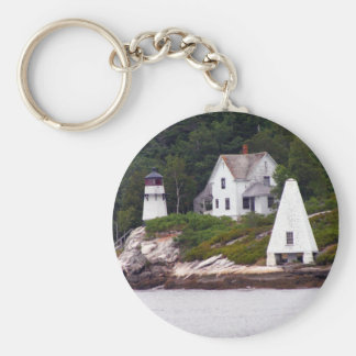 Maine Light House Basic Round Button Key Ring