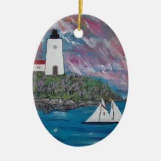 Maine Lighthouse Painting Ceramic Ornament