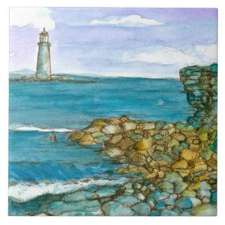 Maine Lighthouse Rocky Coastline Ocean Ceramic Tile