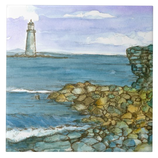 Maine Lighthouse Rocky Coastline Ocean Ceramic Tile