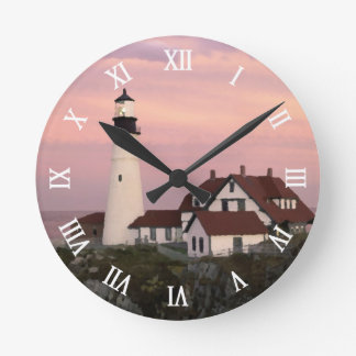 Maine Lighthouse Watercolor Art Style Inspired Round Clock