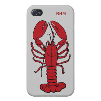Maine Lobster Optional Initials Custom in Red iPhone 4 Cases