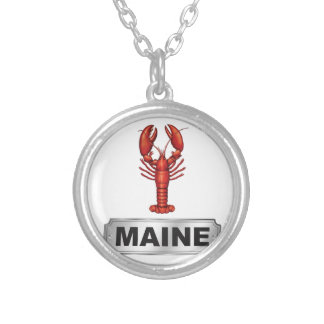 Maine lobster silver plated necklace
