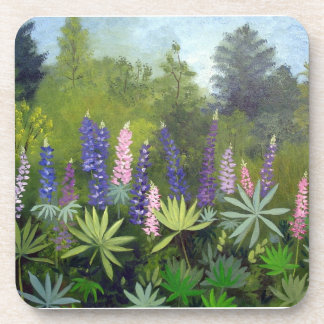 Maine Lupine Flowers Beverage Coasters