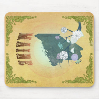 Maine Map With Lovely Birds Mouse Pad