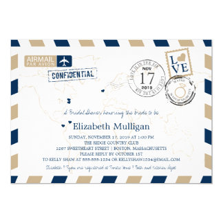 Maine + Massachusetts Airmail | Bridal Shower Card