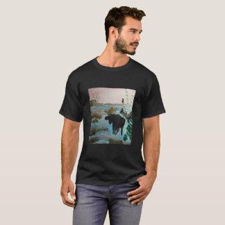 Maine Moose on black tee shirt