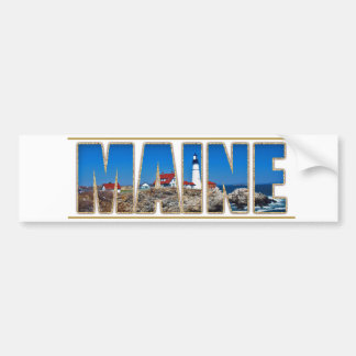 Maine Portland Head Lighthouse Image Text Bumper Sticker
