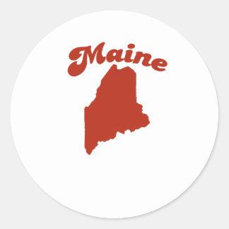 MAINE Red State Round Sticker