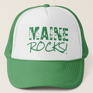 MAINE Rocks Words Green Trucker Hat