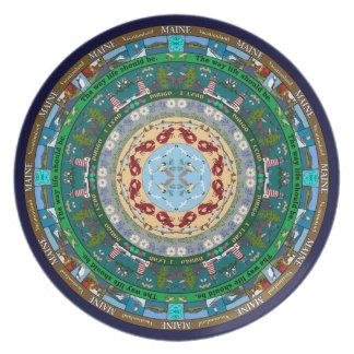 Maine State Mandala Plate