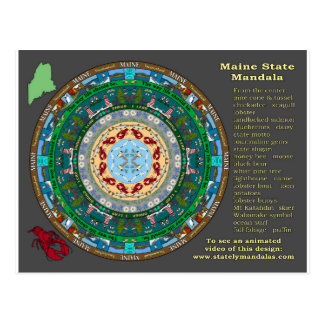 Maine State Mandala Postcard