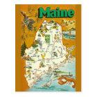 Maine State  Map Postcard