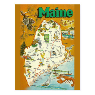Maine State  Map Postcard