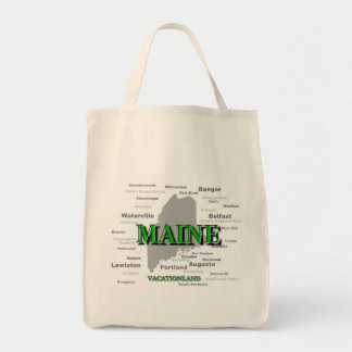 Maine State Pride Map Silhouette Canvas Bag