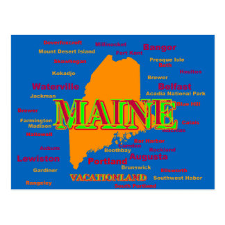 Maine State Pride Map Silhouette Postcard