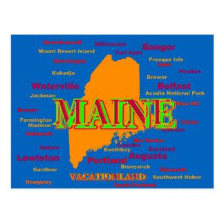 Maine State Pride Map Silhouette Postcard