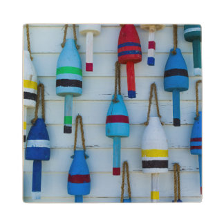 Maine, Stonington, decorative lobster buoys Wood Coaster