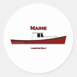 Maine USA Lobster Boat Logo Classic Round Sticker