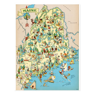 Maine Vintage Map Postcard