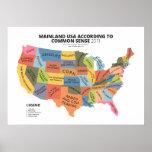 Mainland USA According to Common Sense Posters